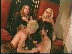 Four retro lesbian chicks in lingerie tease tubes