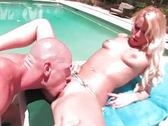 Shiny bikini on hot blonde cocksucker tubes