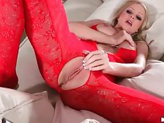 Busty blonde milf in sexy red bodysuit getting sexy tubes
