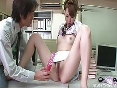 Oriental goddess with juicy pussy gets toyed with in the office tubes