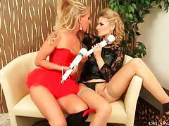 Elegant golden haired babes using toys in their clothes tubes