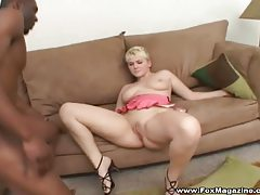 Busty blonde with short hair enjoying black dick tubes