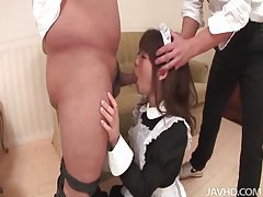 Naughty Asian maid performing handjob and blowjob tubes