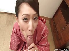 Traditional Japanese beauty gives a hot blowjob tubes
