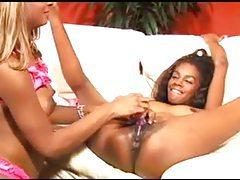 Slender black lesbians eat pussy lustily tubes