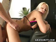 Busty blonde amateur girlfriend sucks and fucks with cumshot tubes