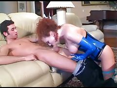 Redhead anal sex in stockings and a latex corset tubes