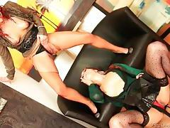 Incredibly kinky redhead babes pissing on each other with clothes on tubes