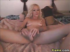 Blonde Babe Sucks and Fucks her Dildo HD tubes