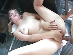 Pigtailed girl anal sex in back of a truck tubes