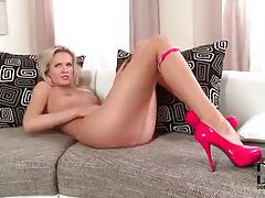 Leggy blonde in sexy panties rubbing her pussy tubes