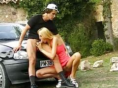 Big cock slut fucked on hood of car tubes