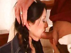 Braided pigtails girl face fucked and riding cock tubes