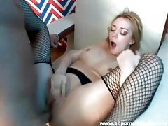 Fair skinned blonde hottie in fishnet stockings ass drilled tubes