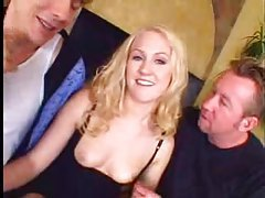 Blonde gobbles two dicks and they have anal sex tubes