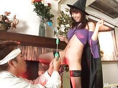 Slutty witch gives a sensual blowjob tubes
