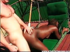 Lustful ebony fox enjoying a white dick by the pool tubes
