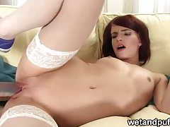 Redhead pleasuring her pussy tubes