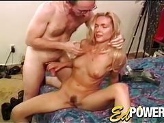 She jacks him off as he fondles her body tubes