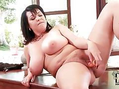 Chubby chick with a dildo has some fun tubes