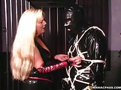 Kinky blonde dominatrix tieing up her male sex slave tubes