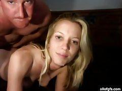 Slender blonde amateur gets impaled on thick cock tubes