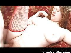 Curvy redhead banged by two guys tubes