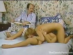 Old guy gets hot watching lesbians eat pussy tubes