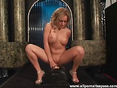 Hot fake tits chick sits on the Sybian tubes