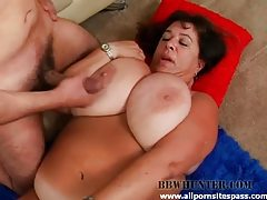 Big tit blubbery milf BBW riding a thick dick tubes