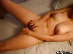 Teen GF on her back happily takes his cock tubes