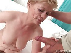 Hairy granny gets fingered then sucks dong tubes