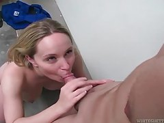 She bites his cock before blowing him tubes