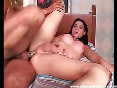 Tranny with great fake tits plowed in the butt tubes