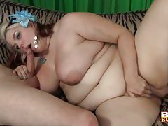 Cocksucking BBW sits on his cock tubes
