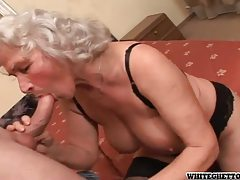 Grey haired granny in sexy lingerie getting pumped tubes