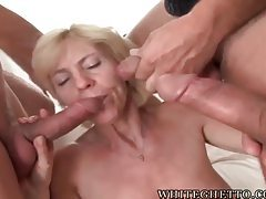 Slender blonde granny giving many blowjobs tubes