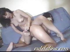 Bubble butt lesbian Latinas using naughty toys tubes