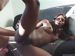 Two tight ebony ladies getting their holes fucked in interracial foursome tubes