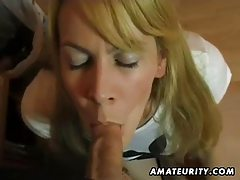 Busty amateur girlfriend sucks and fucks and eats cum tubes
