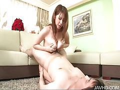She gives titjobs and blowjobs to lucky men tubes