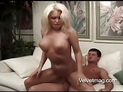 Blonde has big sexy tits and loves to fuck tubes