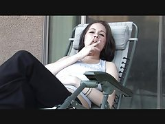 Lipstick girl smokes and talks naughty tubes