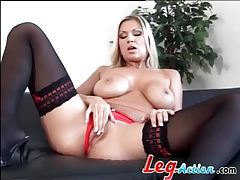 Devon Lee sensual tease in black stockings tubes
