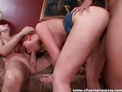 Young redhead with little tits has a threesome tubes