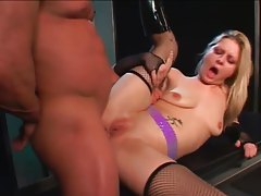 In sexy fishnets she gets it up the ass tubes