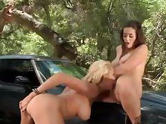 Lesbian farmgirls have sex in the woods tubes