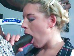Beautiful schoolgirl sucks big black cock tubes