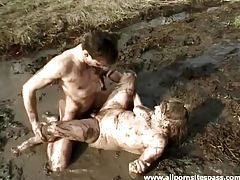 Filthy pig slut fucked in a mud pit tubes