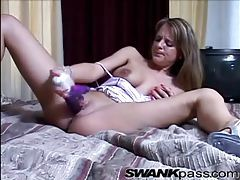 Shiny pink lingerie on dildo fucking girl tubes